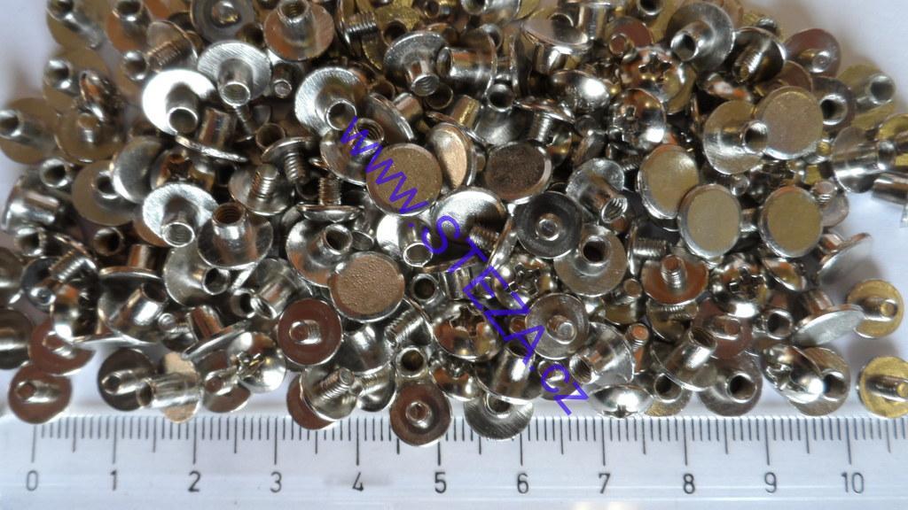STEZA - Sedlářský knoflík, sedlářský šroubek na opasky i náramky 8 párů (Rozměr 4 x 4 x 7,7 mm - cena za 8 párů)