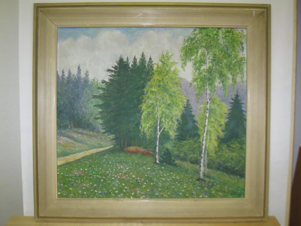 STEZA - Obraz, plátno, olej, 59x55 cm (Motív: Les)